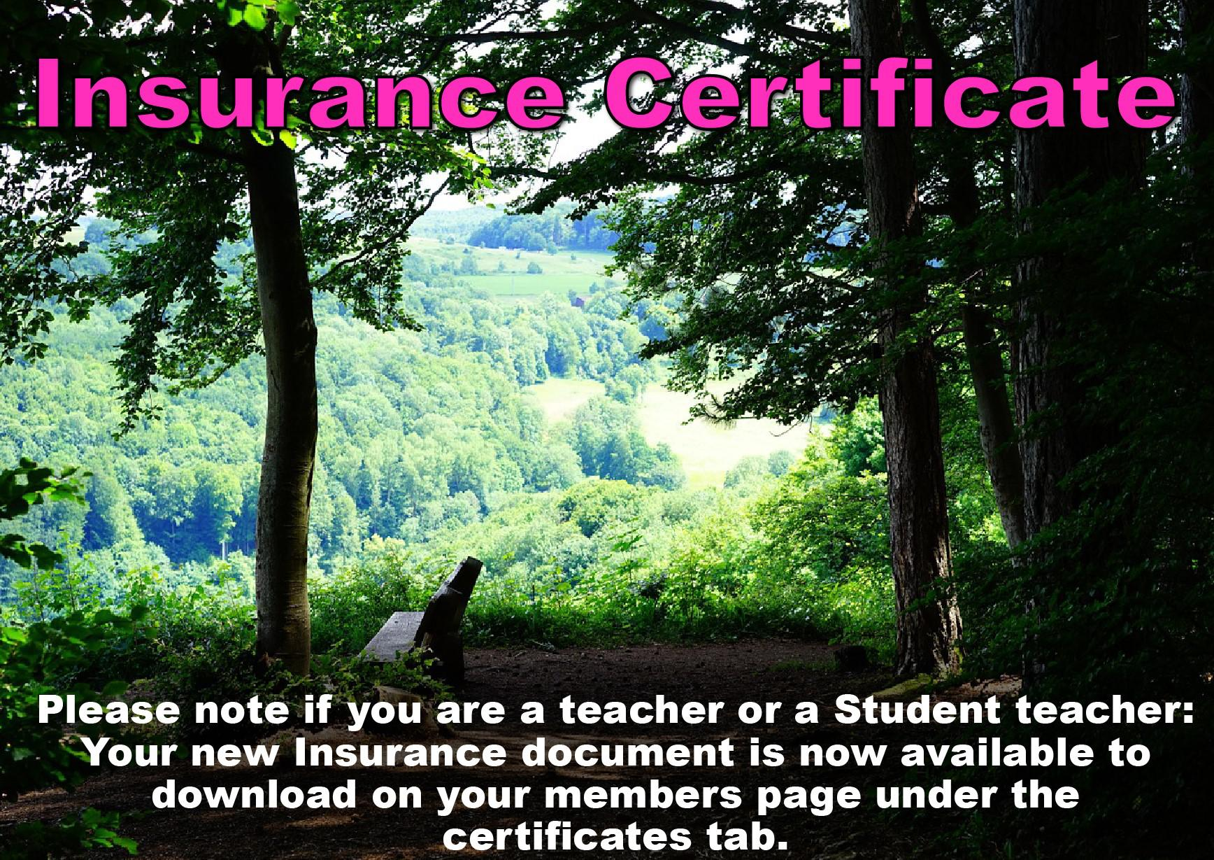 Updated Insurance certificate for Teachers and Student Teachers